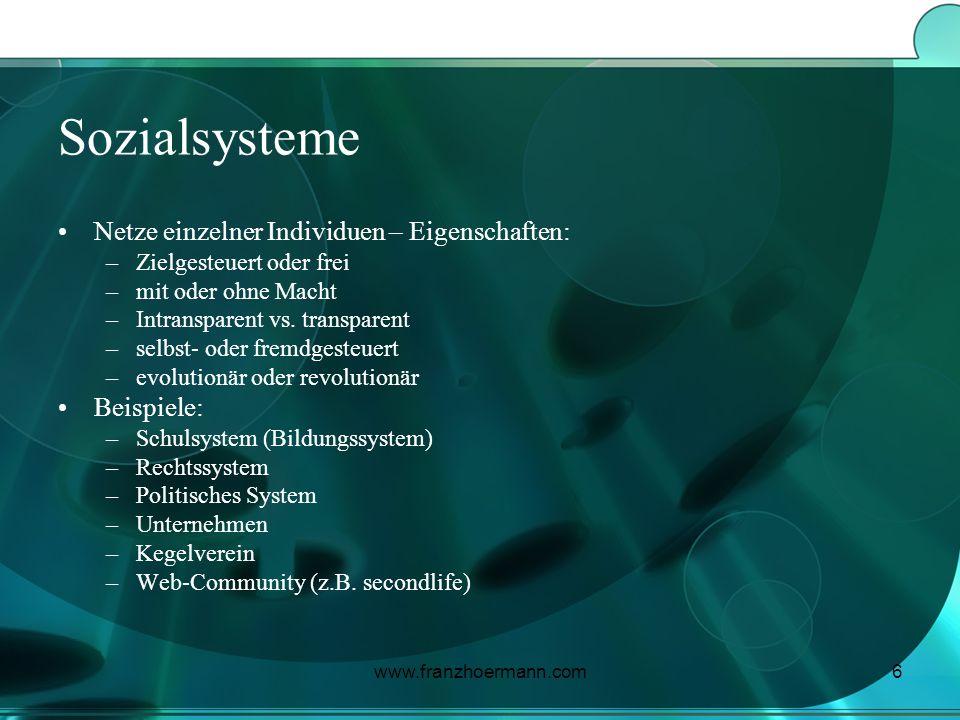 Sozialsysteme Netze einzelner Individuen – Eigenschaften: Beispiele: