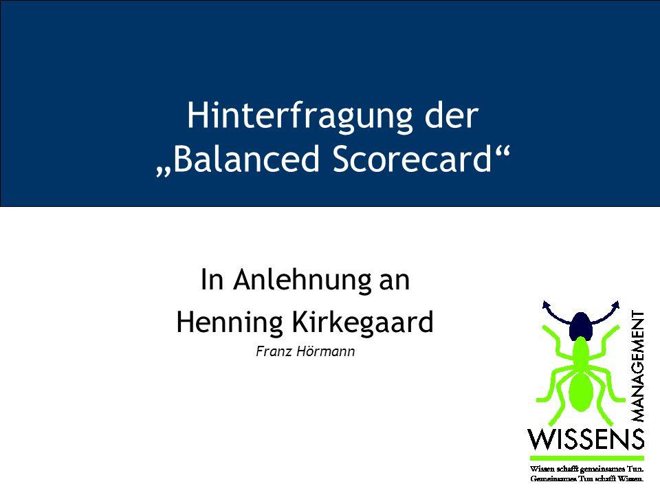 """Hinterfragung der """"Balanced Scorecard"""