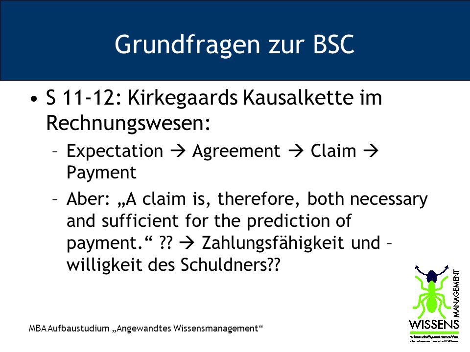 Grundfragen zur BSC S 11-12: Kirkegaards Kausalkette im Rechnungswesen: Expectation  Agreement  Claim  Payment.