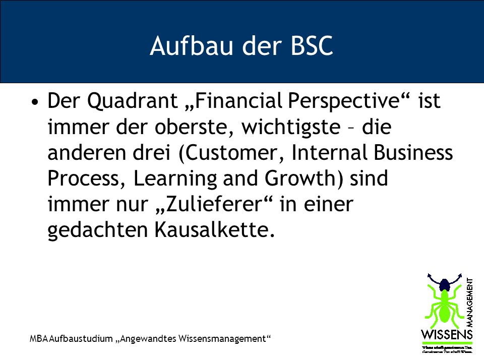 Aufbau der BSC