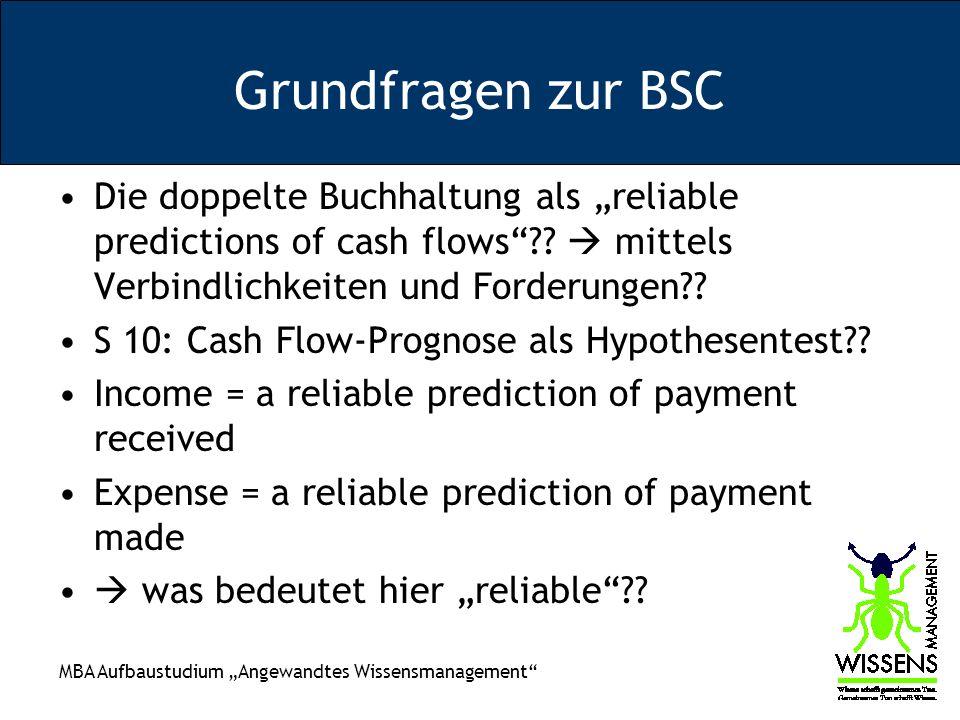 """Grundfragen zur BSC Die doppelte Buchhaltung als """"reliable predictions of cash flows  mittels Verbindlichkeiten und Forderungen"""