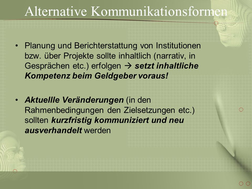Alternative Kommunikationsformen