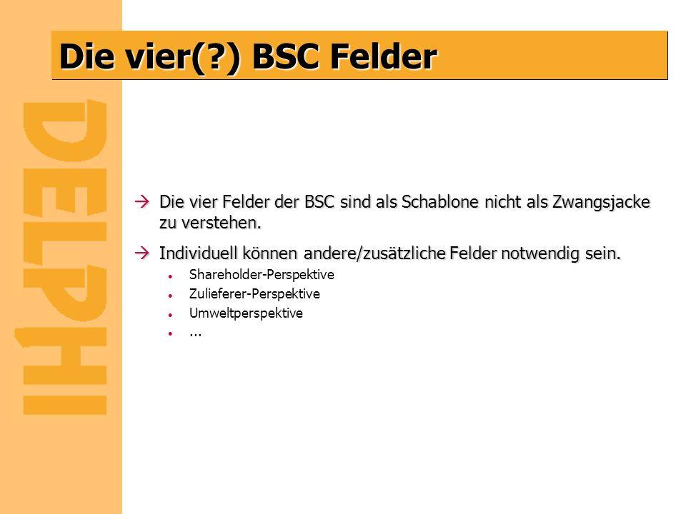Die vier( ) BSC Felder Die vier Felder der BSC sind als Schablone nicht als Zwangsjacke zu verstehen.