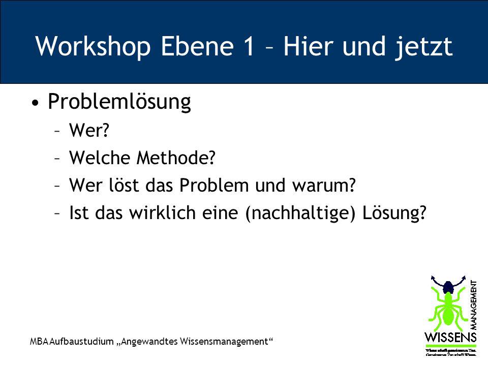 Workshop Ebene 1 – Hier und jetzt