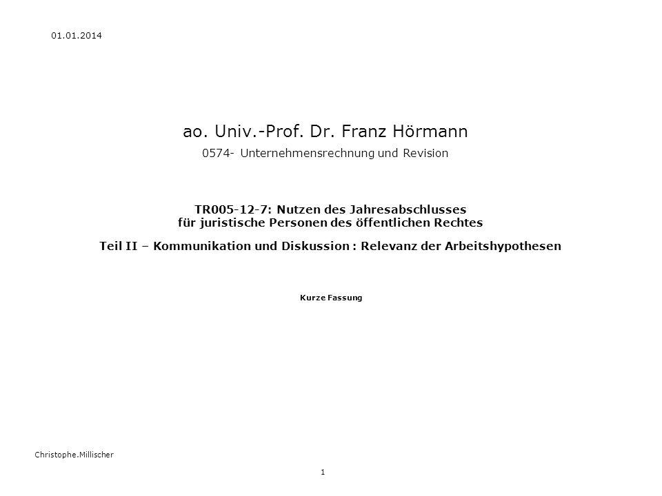 27.03.2017 ao. Univ.-Prof. Dr. Franz Hörmann 0574- Unternehmensrechnung und Revision.