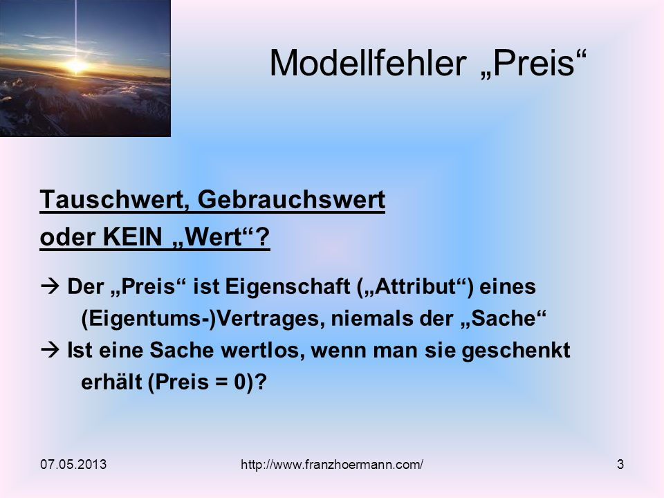 """Modellfehler """"Preis Tauschwert, Gebrauchswert oder KEIN """"Wert"""