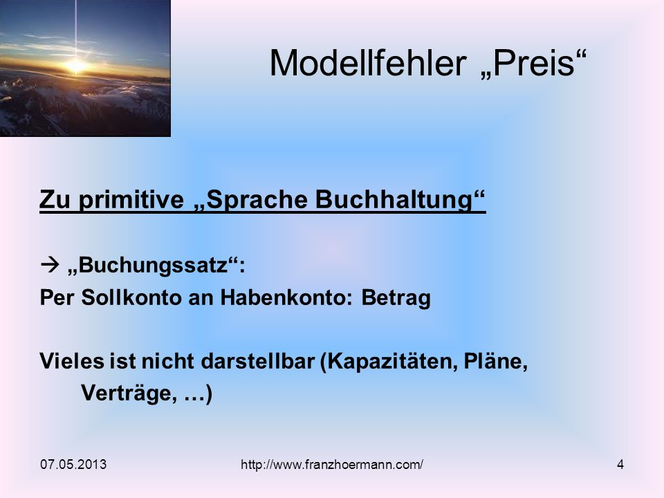 """Modellfehler """"Preis Zu primitive """"Sprache Buchhaltung"""