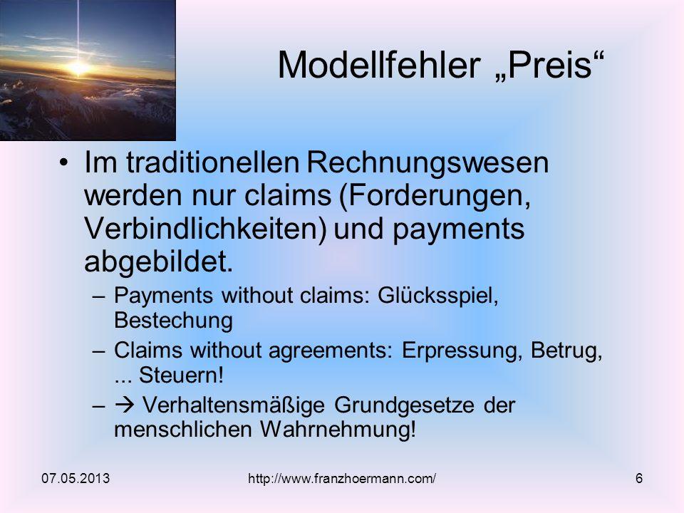 """Modellfehler """"Preis Im traditionellen Rechnungswesen werden nur claims (Forderungen, Verbindlichkeiten) und payments abgebildet."""