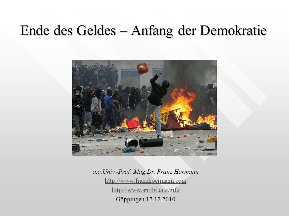 Ende des Geldes – Anfang der Demokratie