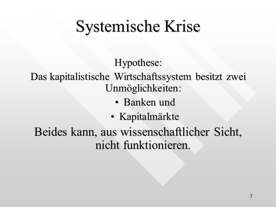 Systemische KriseHypothese: Das kapitalistische Wirtschaftssystem besitzt zwei Unmöglichkeiten: Banken und.
