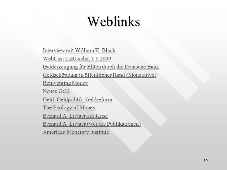 Weblinks Interview mit William K. Black WebCast LaRouche, 1.8.2009