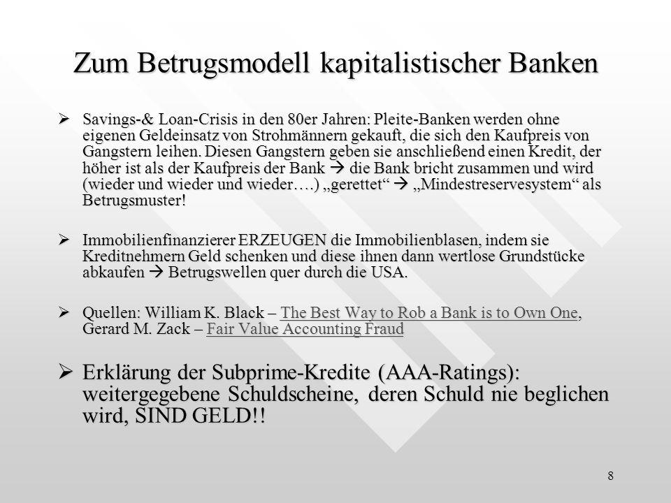 Zum Betrugsmodell kapitalistischer Banken