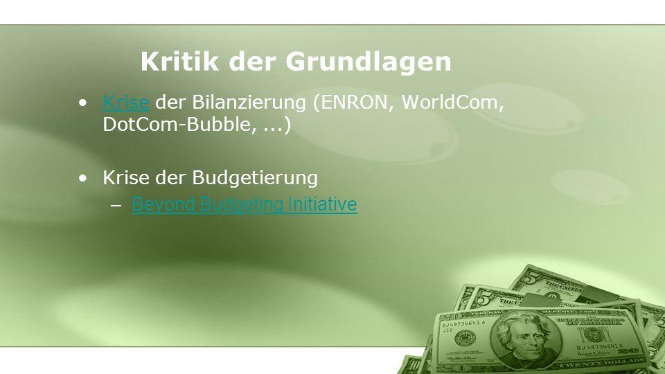 Kritik der Grundlagen Krise der Bilanzierung (ENRON, WorldCom, DotCom-Bubble, ...) Krise der Budgetierung.