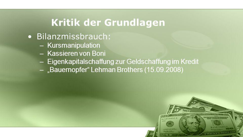 Kritik der Grundlagen Bilanzmissbrauch: Kursmanipulation