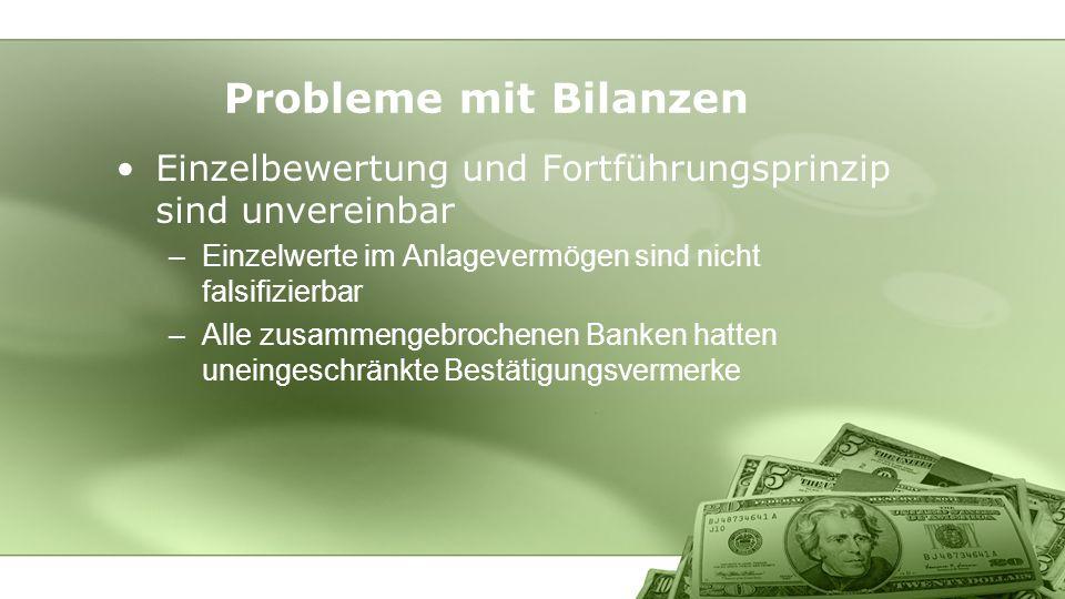 Probleme mit Bilanzen Einzelbewertung und Fortführungsprinzip sind unvereinbar. Einzelwerte im Anlagevermögen sind nicht falsifizierbar.