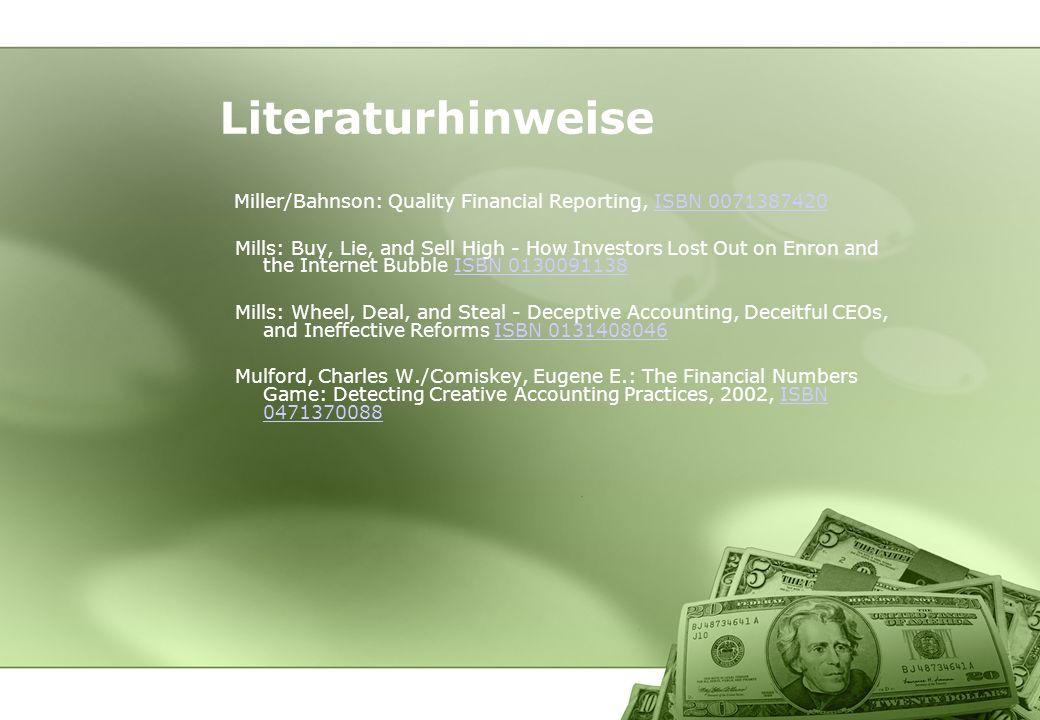 LiteraturhinweiseMiller/Bahnson: Quality Financial Reporting, ISBN 0071387420