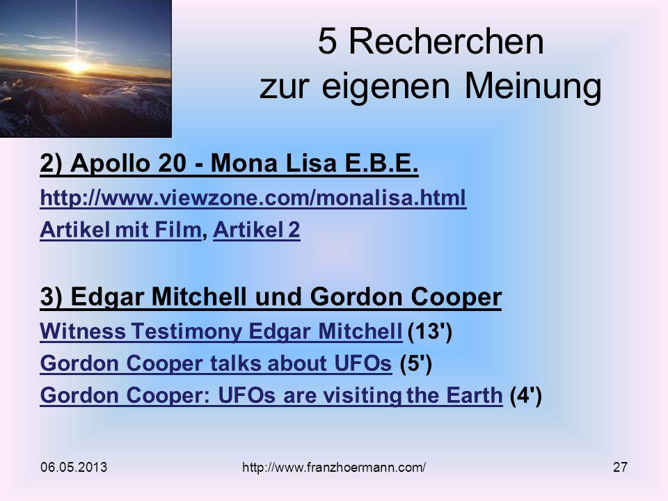 5 Recherchen zur eigenen Meinung 2) Apollo 20 - Mona Lisa E.B.E.