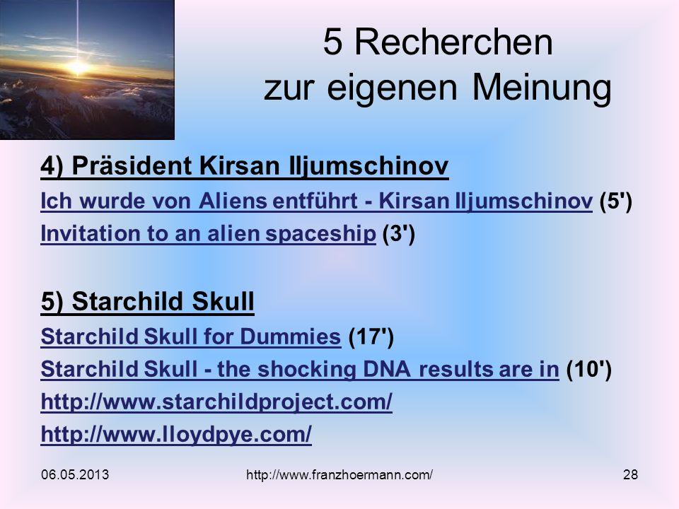 5 Recherchen zur eigenen Meinung 4) Präsident Kirsan Iljumschinov