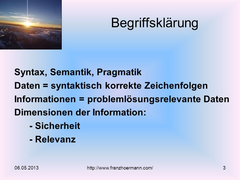 Begriffsklärung Syntax, Semantik, Pragmatik