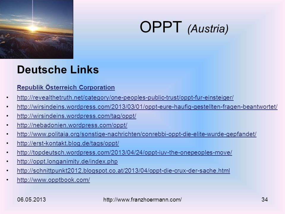 OPPT (Austria) Deutsche Links Republik Österreich Corporation