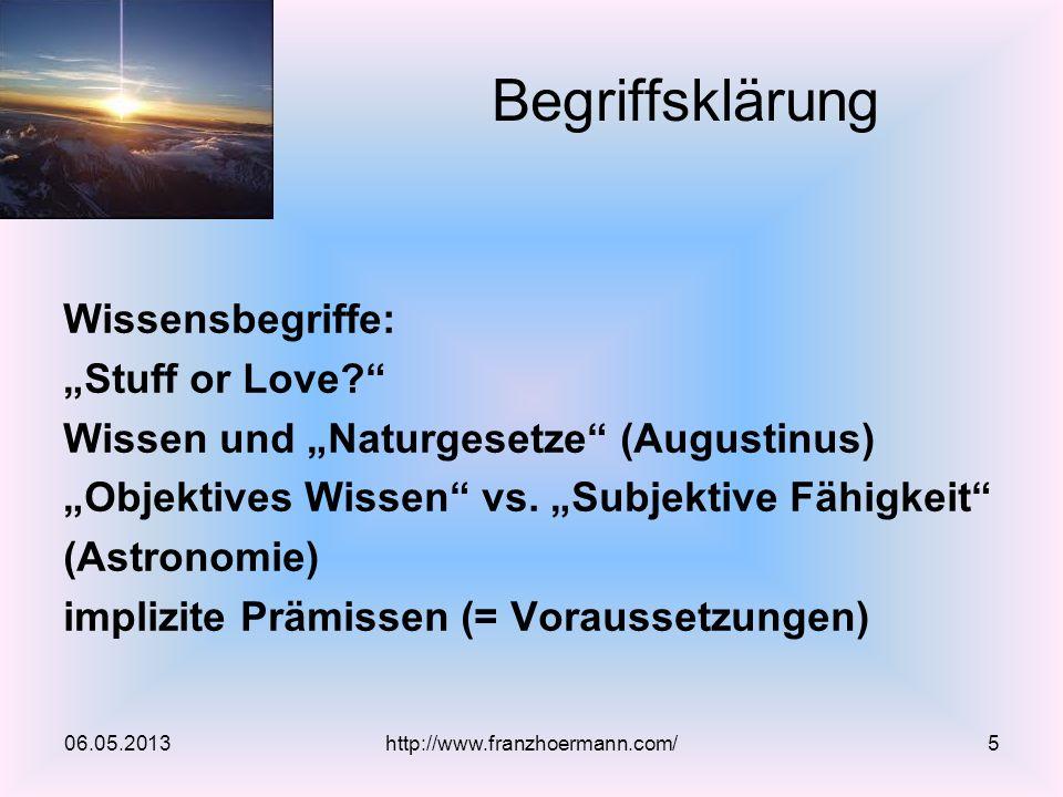"""Begriffsklärung Wissensbegriffe: """"Stuff or Love"""