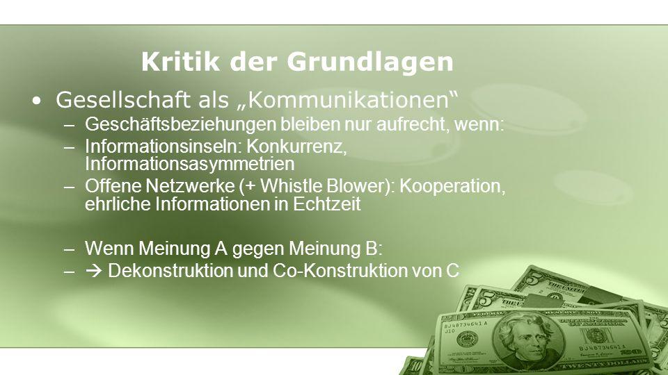 """Kritik der Grundlagen Gesellschaft als """"Kommunikationen"""