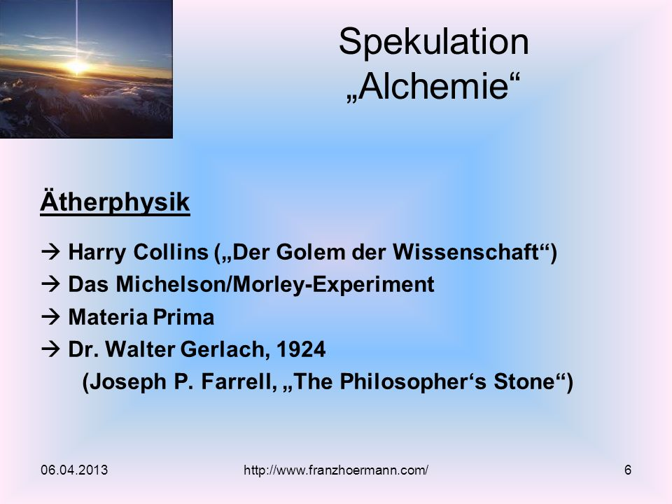 "Spekulation ""Alchemie"
