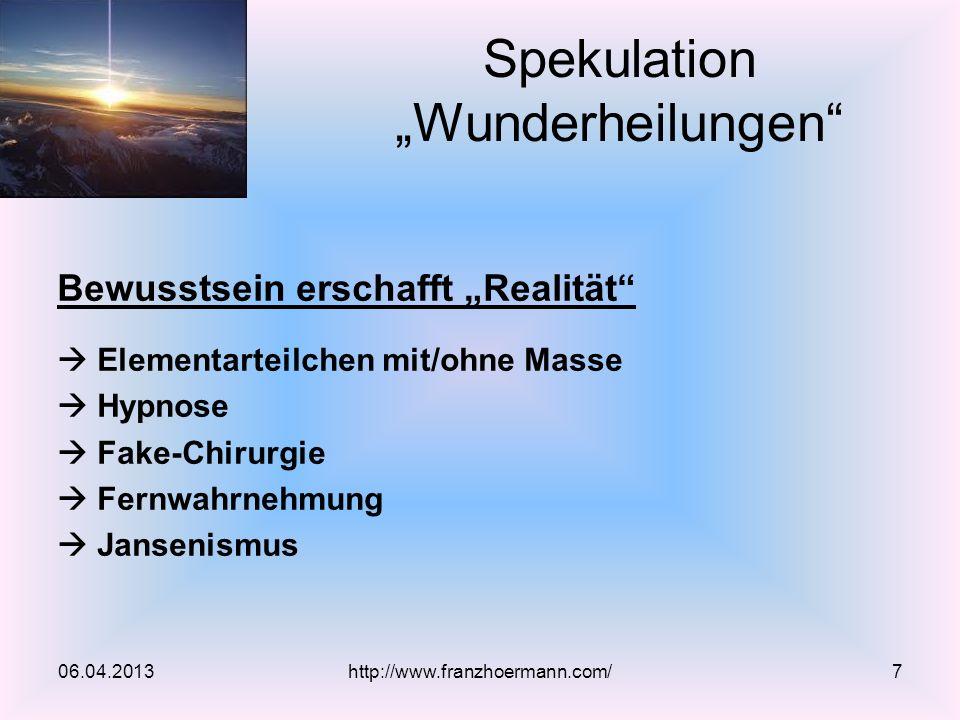 """Spekulation """"Wunderheilungen"""