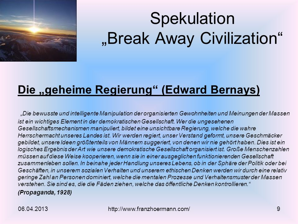 "Spekulation ""Break Away Civilization"