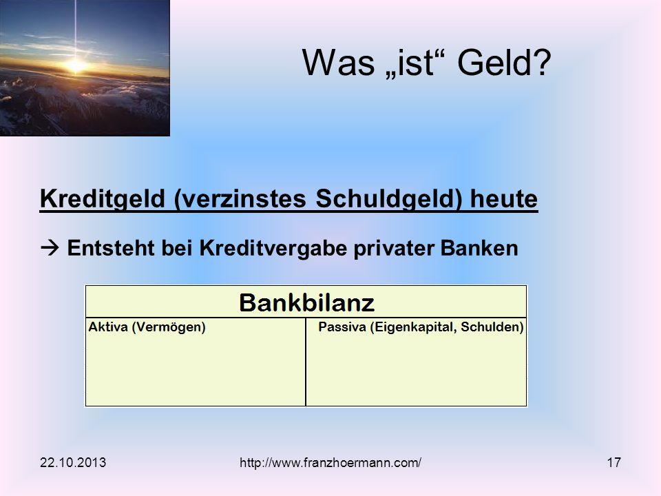 """Was """"ist Geld Kreditgeld (verzinstes Schuldgeld) heute"""
