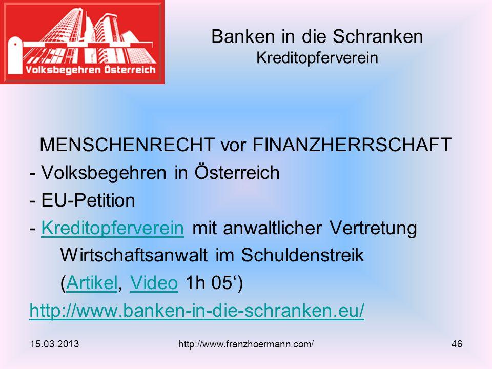 Banken in die Schranken Kreditopferverein