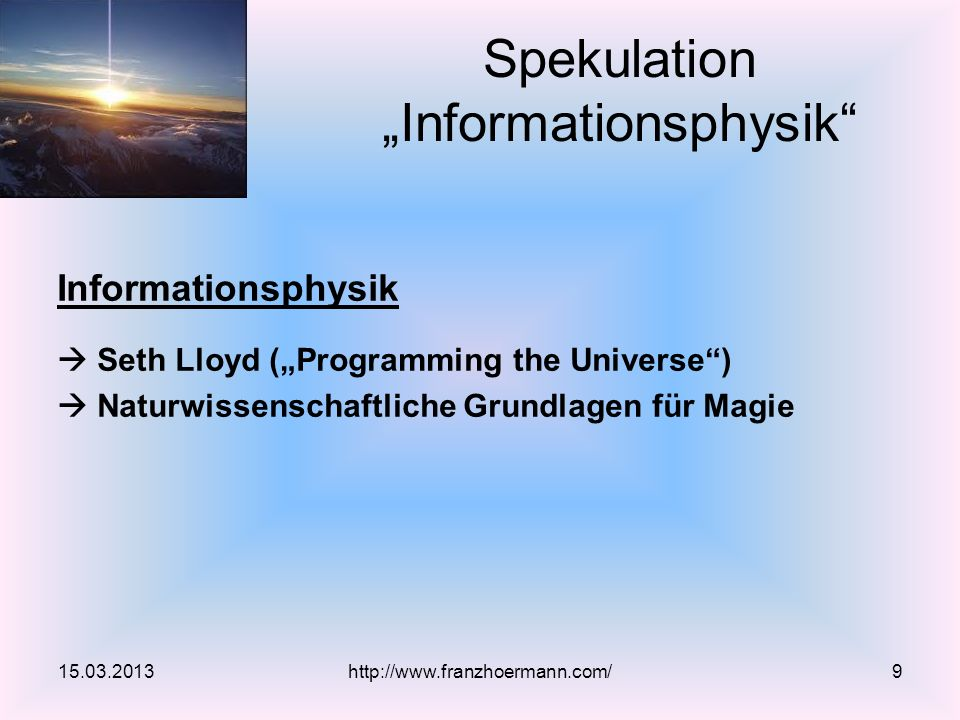 "Spekulation ""Informationsphysik"