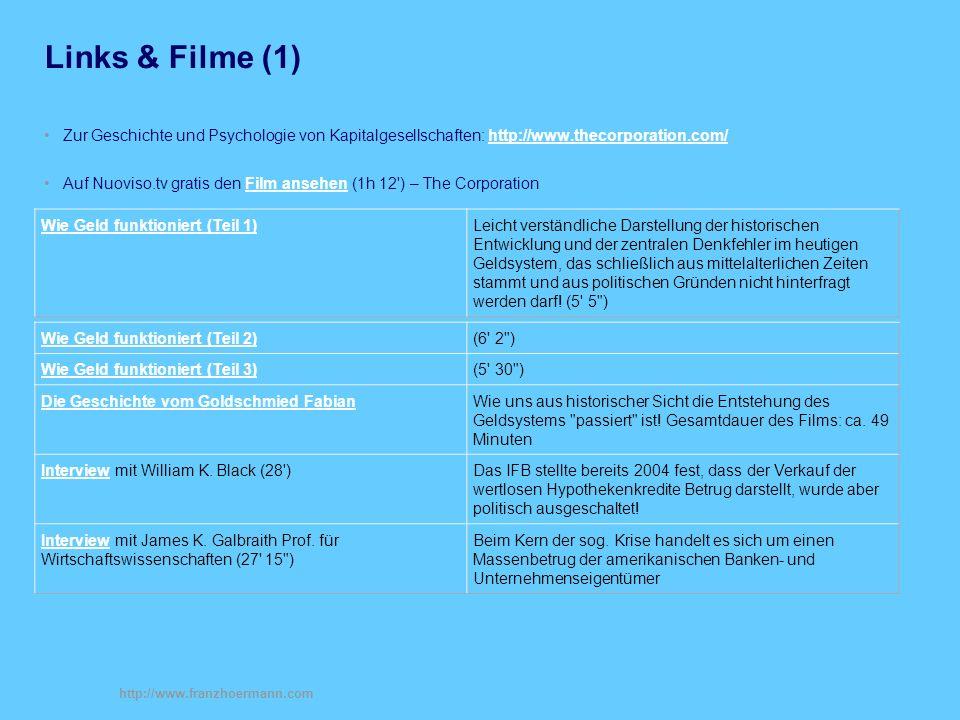 Links & Filme (1) Zur Geschichte und Psychologie von Kapitalgesellschaften: http://www.thecorporation.com/