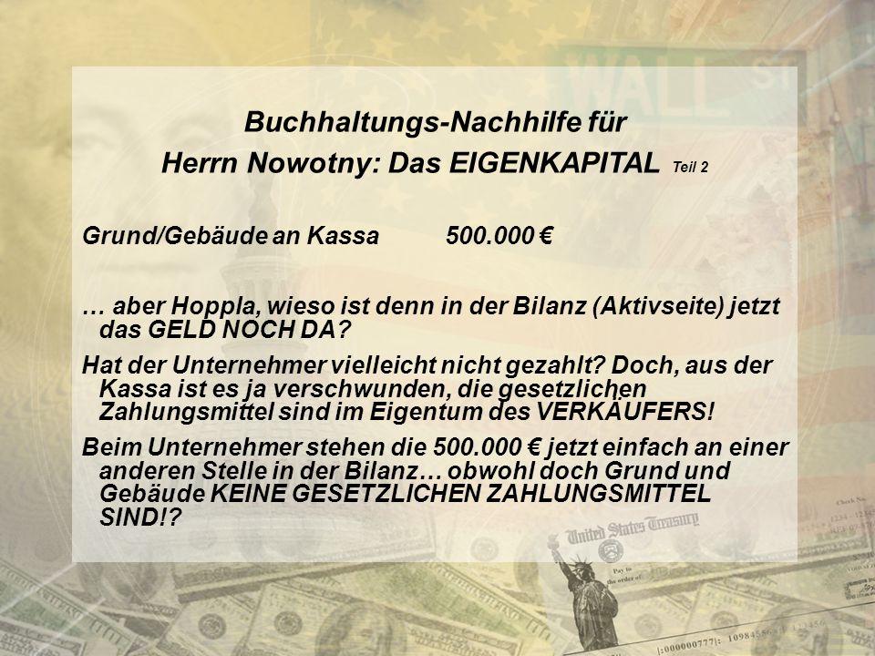 Buchhaltungs-Nachhilfe für Herrn Nowotny: Das EIGENKAPITAL Teil 2