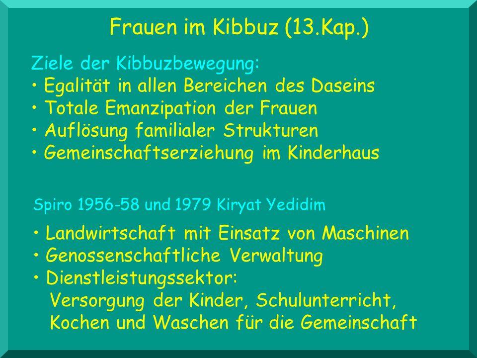 Frauen im Kibbuz (13.Kap.) Ziele der Kibbuzbewegung: