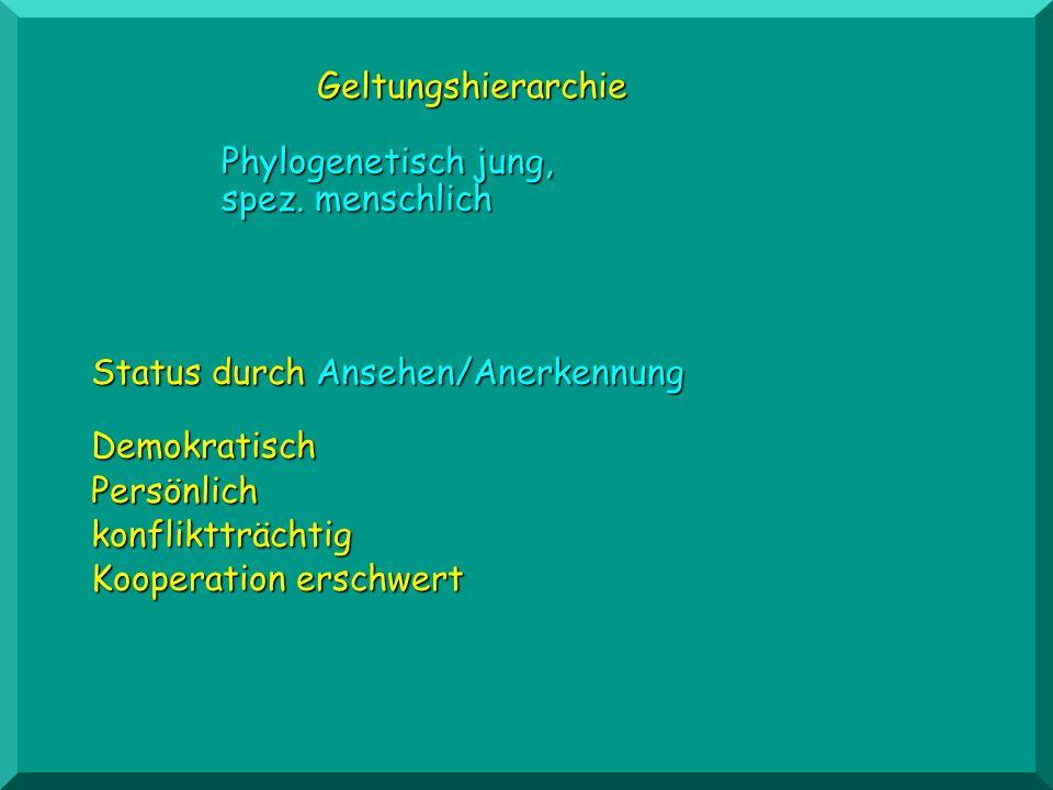 Geltungshierarchie Phylogenetisch jung, spez. menschlich. Status durch Ansehen/Anerkennung. Demokratisch.