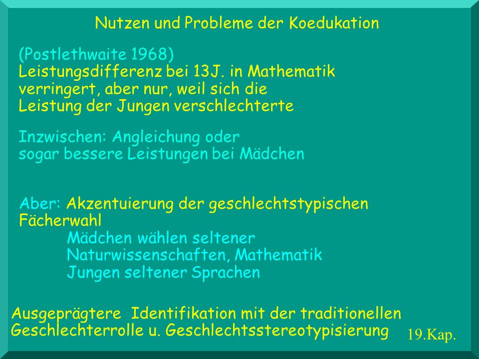 Nutzen und Probleme der Koedukation
