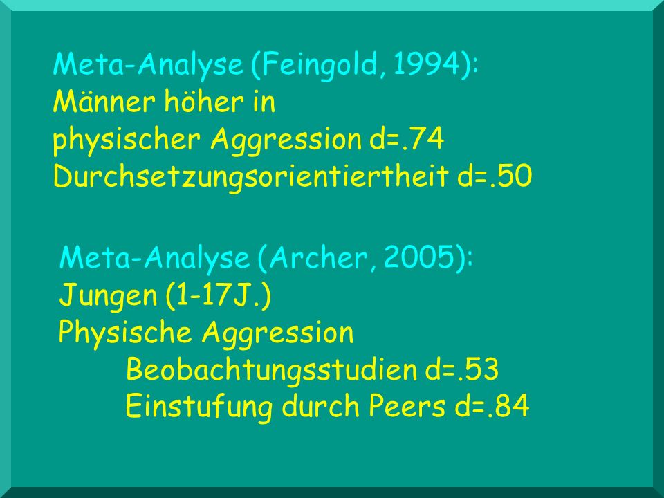 Meta-Analyse (Feingold, 1994):