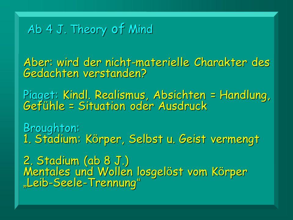 Ab 4 J. Theory of Mind Aber: wird der nicht-materielle Charakter des Gedachten verstanden
