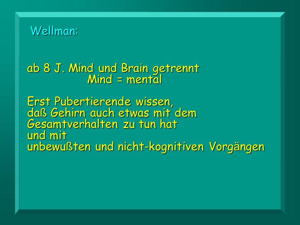 Wellman: ab 8 J. Mind und Brain getrennt Mind = mental.