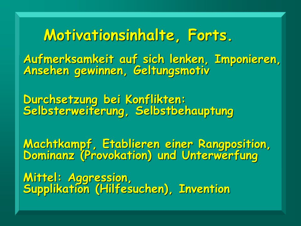 Motivationsinhalte, Forts.