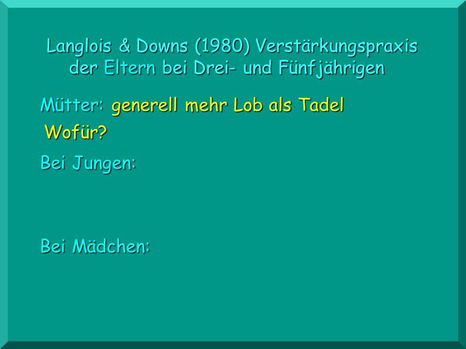Langlois & Downs (1980) Verstärkungspraxis