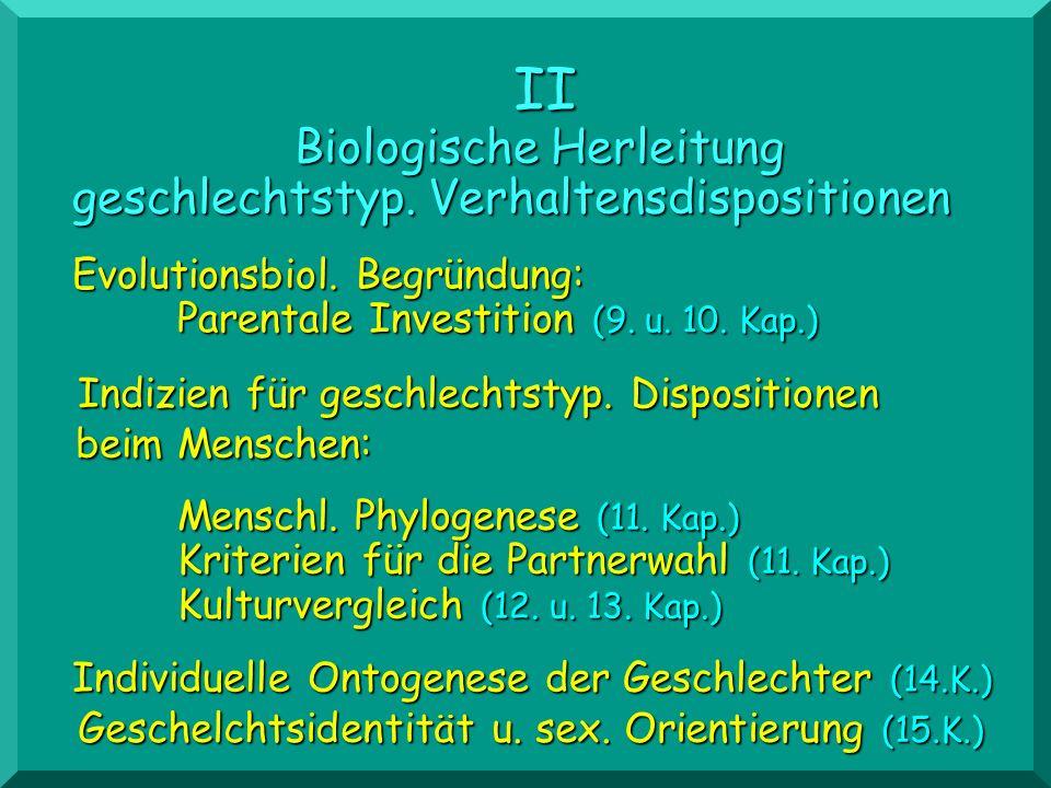 II Biologische Herleitung geschlechtstyp. Verhaltensdispositionen