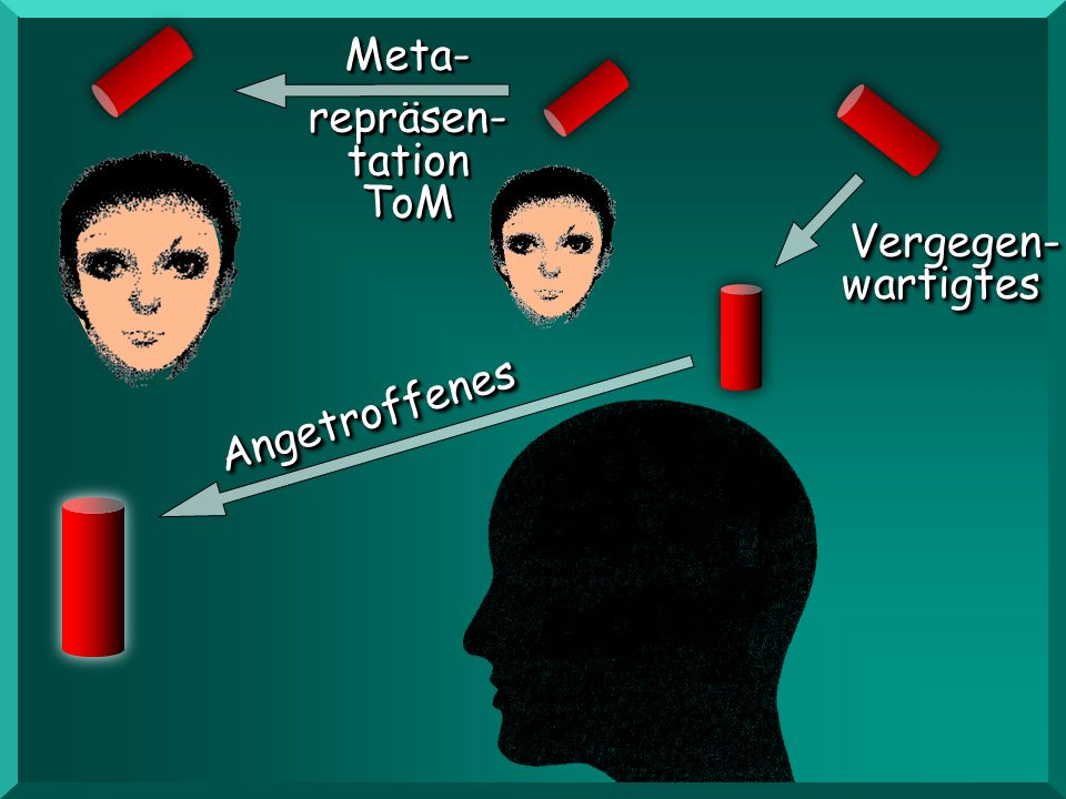 Meta- repräsen- tation ToM Vergegen- wartigtes Angetroffenes