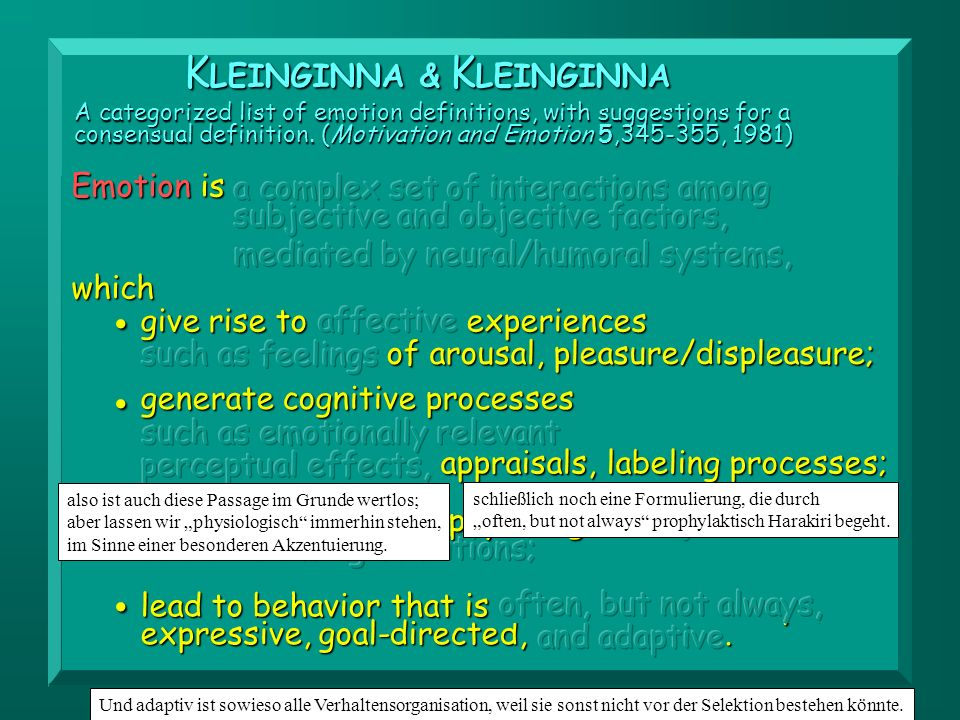 • • KLEINGINNA & KLEINGINNA generate cognitive processes