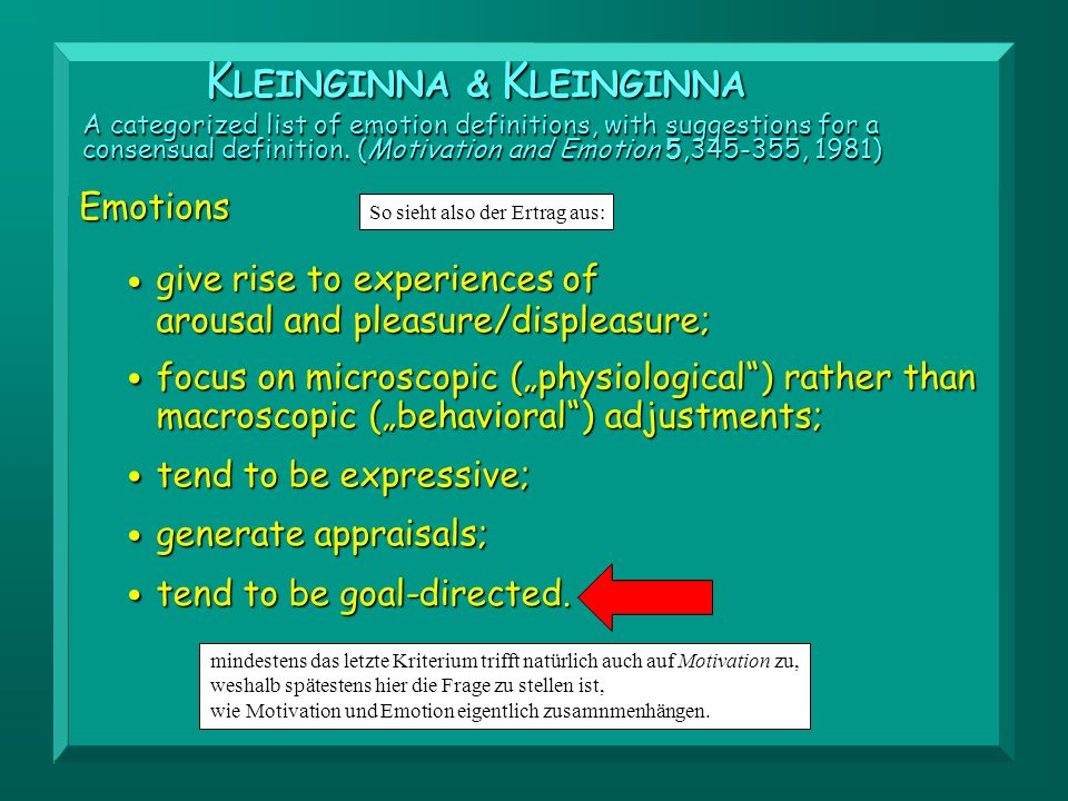 • • • • • KLEINGINNA & KLEINGINNA Emotions give rise to experiences of
