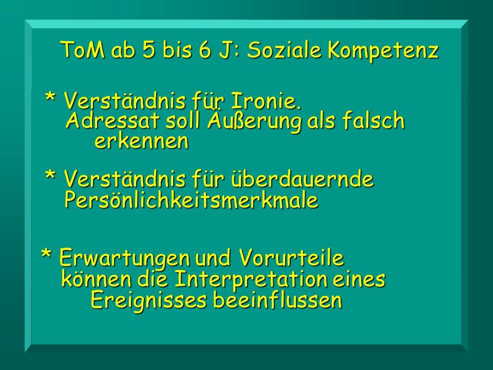 ToM ab 5 bis 6 J: Soziale Kompetenz