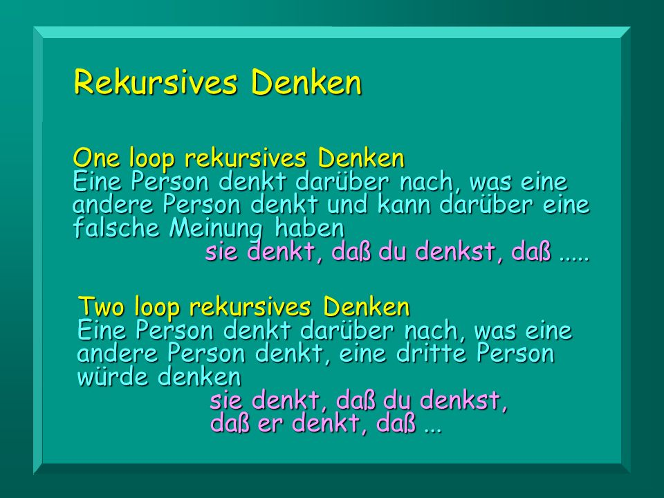 Rekursives Denken One loop rekursives Denken