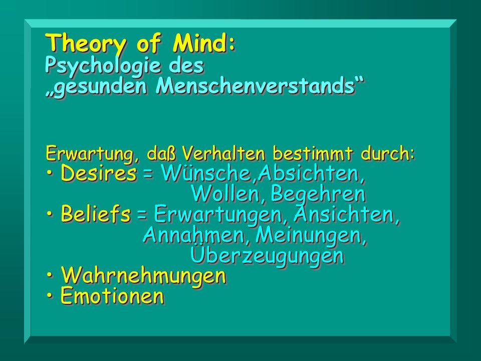 "Theory of Mind: Psychologie des ""gesunden Menschenverstands"