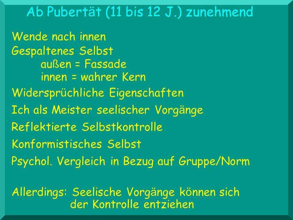 Ab Pubertät (11 bis 12 J.) zunehmend